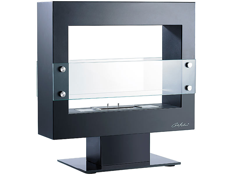 offener deko bio ethanol kaminofen mit standfuss mattschwarz carlo milano ebay. Black Bedroom Furniture Sets. Home Design Ideas