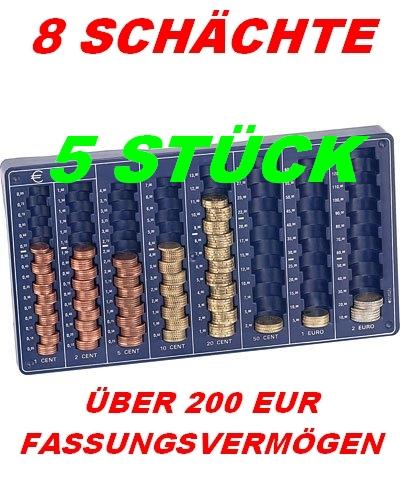5 STÜCK*EURO*MÜNZBRETT*MÜNZSORTIERER* MÜNZZÄHLER*ZÄHLBRETT*8 SCHÄCHTE