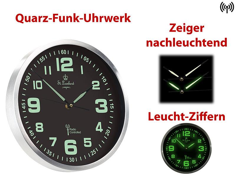FUNKWANDUHR*FUNK-WANDUHR*QUARZ*ZIFFERN+ZEIGER NACHLEUCHTEND*ST.LEONHARD*DCF77
